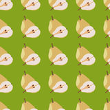 Yellow pears seamless pattern. Pears seamless pattern. Repeating illustrations of yellow pears in pattern vector illustration