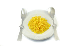 Yellow peas on a plate Stock Photos