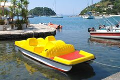 Yellow pedalo, Paxos Royalty Free Stock Image