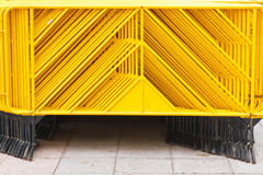 Yellow pedestrian barriers Stock Photo