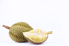 Yellow peeled   durian and  mon thong durian  is fruit plate tropical durian and  king of fruits durian on white background health Stock Images