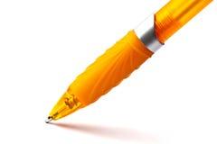Yellow pen closeup on white Stock Photos