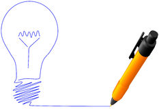 Yellow pen drawing bright idea light bulb Royalty Free Stock Photos