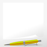 Yellow Pen and Paper Royalty Free Stock Image
