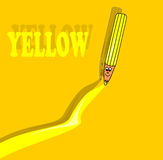 Yellow pencil. The illustration could be used in the field of teaching, for example employed in order to learn colors to a child, or as simple illustrations for Stock Illustration