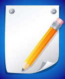 Yellow pencil. Vector illustration - yellow pencil on the paper Stock Image