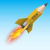 Yellow pencil as flying rocket. Creative design concept with yellow pencil as flying rocket Stock Image