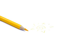 Yellow pencil crayon and a sun. Yellow pencil crayon with a hand drawn sun isolated on white background Stock Image