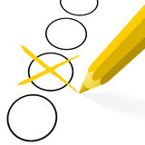 Yellow pencil with cross Royalty Free Stock Photos