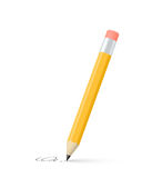 Yellow pencil draws a stroke Royalty Free Stock Image