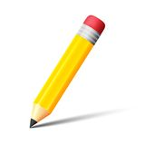 Yellow pencil with eraser vector icon Stock Images