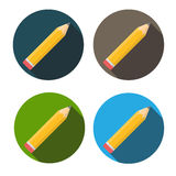 Yellow Pencil Flat Icon with Long Shadow Vector Royalty Free Stock Photography