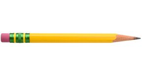 Yellow pencil. An isolated yellow pencil on white Royalty Free Stock Photo