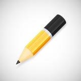 Yellow pencil, isolated on white background. Vector pencil black and yellow color, isolated on white background Stock Photo