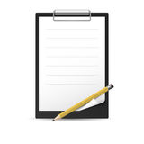 Yellow Pencil and notepad Stock Photo