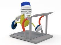 Yellow pencil running on treadmill. 3D render Royalty Free Stock Photo