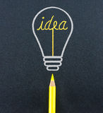 Yellow pencil sketch in  light bulb shape ignite the idea word o Stock Photo
