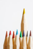 Yellow pencil standing out Royalty Free Stock Images