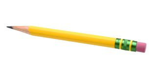 Yellow pencil. On white Royalty Free Stock Image