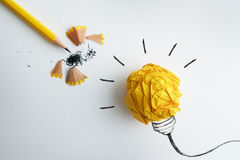 The yellow pencil with yellow crumpled paper ball and hand drawn. Yellow pencil with yellow crumpled paper ball and hand drawn a light bulb , creative innovation stock images