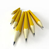 Yellow pencils. 3D rendering of  seven yellow classic pencils with a black tip Stock Image
