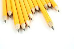 Yellow Pencils. On a white background Stock Photos