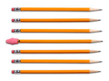 Yellow Pencils With Eraser Stock Photos
