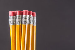 Yellow Pencils - Erasers. Closeup Macro of the erasers on a group of yellow pencils against a grey background Royalty Free Stock Images