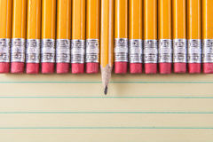 Yellow Pencils & Erasers on Paper Stock Photography