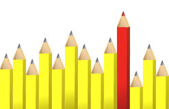 Yellow pencils and one red crayon Stock Image