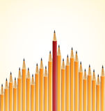 Yellow pencils and one red Royalty Free Stock Photos