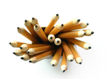 Yellow pencils, Top view. Yellow pencils isolated on a white background Royalty Free Stock Photography