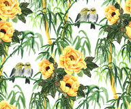Yellow peonies, bamboo and birds Stock Photo