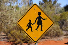 Yellow People Crossing sign in outback australia Royalty Free Stock Images