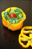 Yellow pepper. Salad wiht vegetables royalty free stock photography