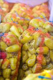 Yellow pepper in bags, vegetables, healthy food. Fresh green pepper Royalty Free Stock Photo
