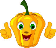 Yellow Pepper Character giving thumbs up Royalty Free Stock Images