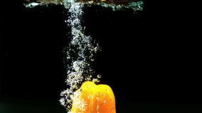 Yellow pepper falling in water and floating stock footage