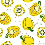 Yellow pepper. Hand drawn vector seamless pattern with paprika. stock illustration