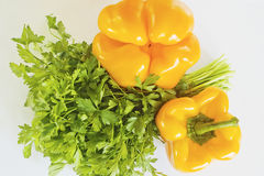 Yellow pepper and parsley Stock Photo