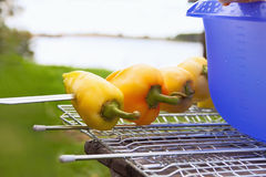 Yellow Pepper Ready to be Grilled Royalty Free Stock Photos
