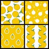 Yellow Pepper Seamless Patterns Set Stock Photography