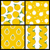 Yellow Pepper Seamless Patterns Set Stock Photography
