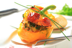 Yellow pepper stuffed with ground meat Stock Photography