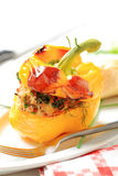 Yellow pepper stuffed with ground meat Royalty Free Stock Photos