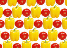 Yellow Pepper and tomato. On a white background Stock Photos