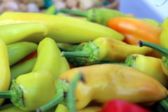 Yellow Peppers. For sale at local grower's market Stock Images