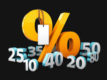Yellow Percentage with label and blue numbers of discount, on black background. Yellow Percentage with label and blue numbers of discount. on black background Stock Image