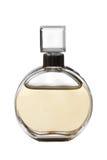 Yellow perfume bottle. On white Royalty Free Stock Photo