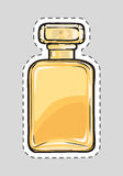 Yellow Perfume Flacon. Female Odour. Cut it out. Stylish yellow perfume flacon for women. Cut it out. Illustration of  female odour in cartoon style. Nosegay in Royalty Free Stock Photo